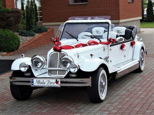 Samochód do ślubu Kabriolet RETRO NESTOR BARON dekoracja auta GRATIS