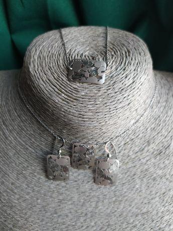 Oryginalny delikatny komplet ze srebra