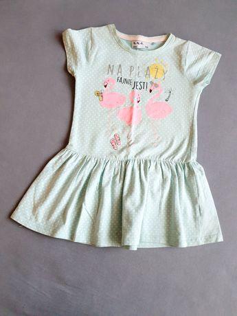 Sama słodycz sukienka błękitna 5.10.15 rozm 104 na 2 do 3 lat flamingi