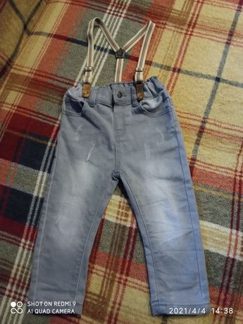 Eleganckie spodnie na szelkach rozmiar 92