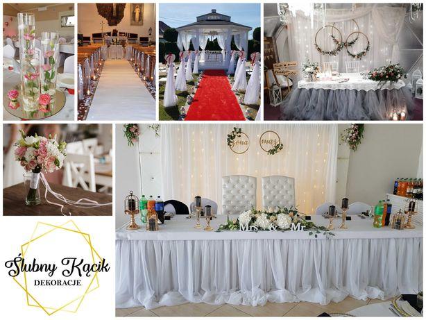 Dekoracje ślubne, dekoracja sali weselnej, dekoracja kościoła