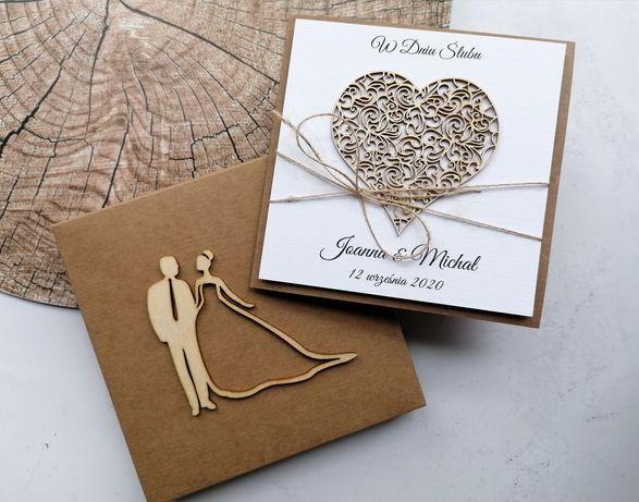 Kartki ślubne , w dniu ślubu , pamiątka ślubna rustykalna z kopertą
