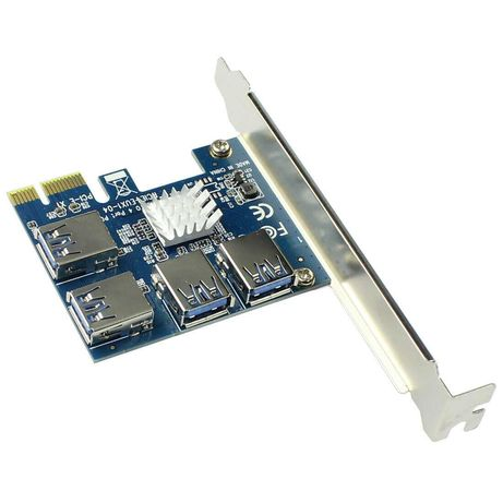 Adaptador Hub para Riser 4x USB PCI-e Mining ext PCI - NOVO SELADO