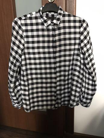 Koszula w czarno białą kratkę kratę Zara Basic 34XS