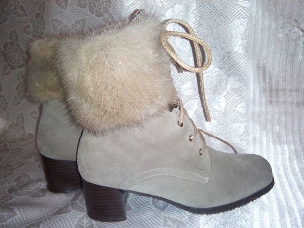 Сапоги, ботинки, ботильены, туфли сникерси натур. замша норка 35.5-36