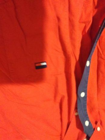 Koszula czerwona męska xxl na krótki rękaw