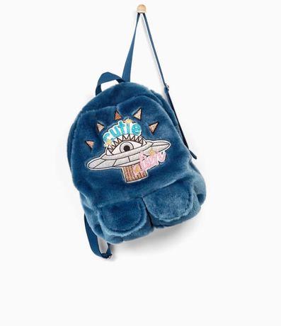Меховой рюкзак ZARA Kids с нашивкой