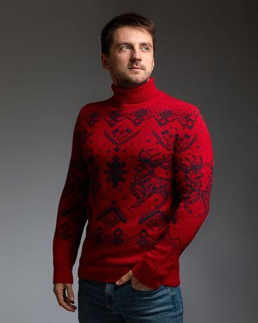 Мужские теплые свитера с оленями. Гольф/кофта. Турция.