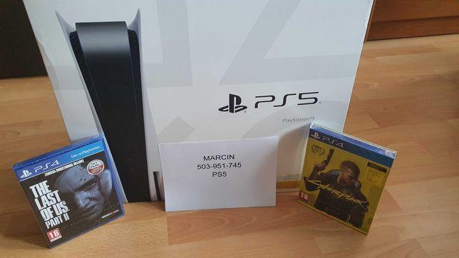 Konsola Playstation 5 PS5 + 1xPad + CyberPunk 2077 + The Last of Us II