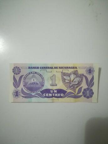 Nota rara 1 centavo de Nicarágua NÃO CIRCULADA
