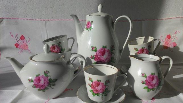Чайный сервиз из тонкого фарфора[ГДР, на 6 персон, Роза)