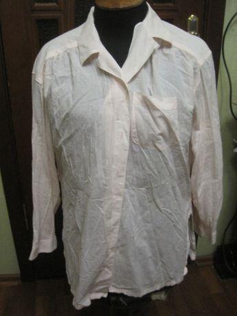 Блузка рубашка 14 невысокий р. хлопок цвет розовая пудра