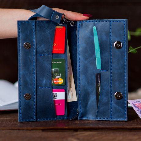 Кожаный кошелек, портмоне, тиснение имени и фамилии,