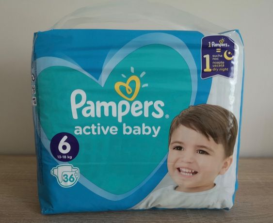 Pieluchy PAMPERS 6. 36 szt, 13-18 kg active baby