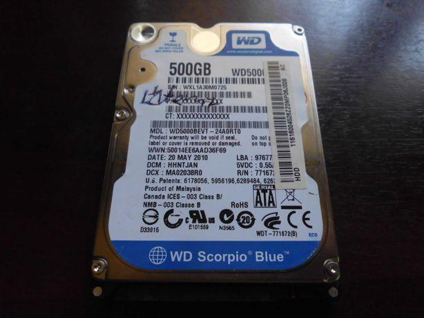 """dysk HDD 2,5"""" 500 GB SATA żywotność i sprawność  100%"""