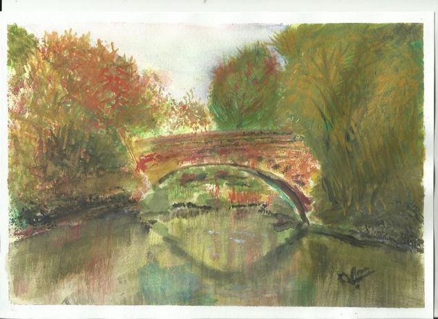 """pintura em aguarela aguarela """"Ponte"""""""