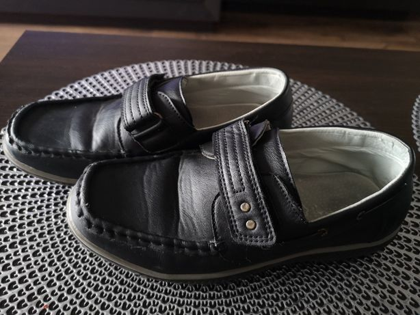 Buty mokasyny czarne, r. 37, wkładka 24 cm