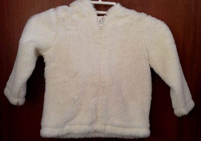 Біла осіння шубка для дівчинки 12-18міс
