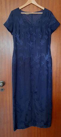 Vestido comprido de seda azul com modelo oriental, da Monsoon