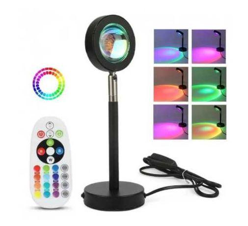 Лампа LED для селфи RGB + пульт, USB с эффектом заката / рассвета