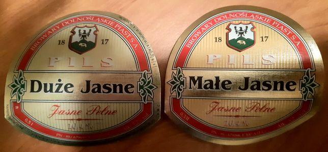 2 etykiety piwa Pils z Browarow Dolnośląskich Piast