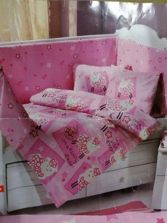 Бортик в кроватку и подушка,бампер в кроватку, защита для кроватки