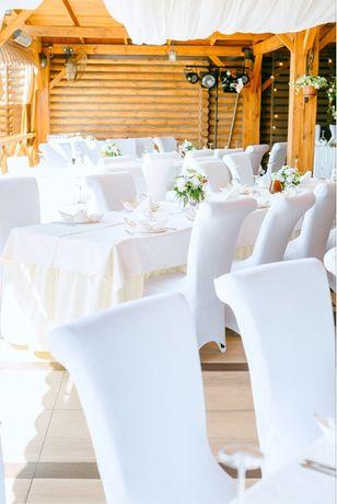 Стрейчевые белые чехлы на стулья (150 шт.)