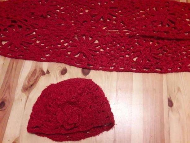 Welniana czerwona czapka gruby splot+dlugi szalik - piekny komplet