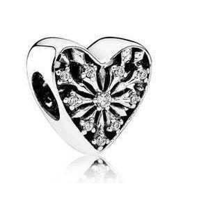 Srebrny Beads koralik charms lodowe kryształowe serce S925 do Pandory