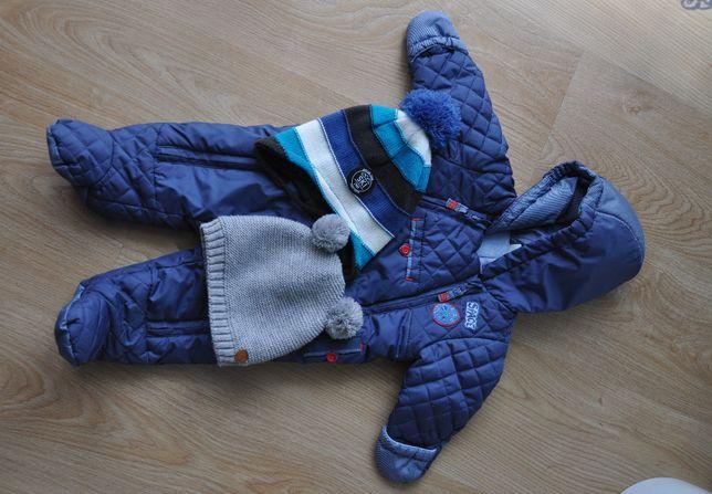 kombinezon dla noworodka + czapki chłopca 62