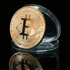 Bitcoin - BTC - POZŁACANA + Kapsel.