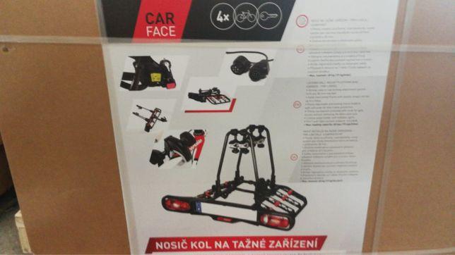 Bagażnik CarFace/ Interpack na 4 rowery na hak NOWY, UCHYLNY, SKŁADANY