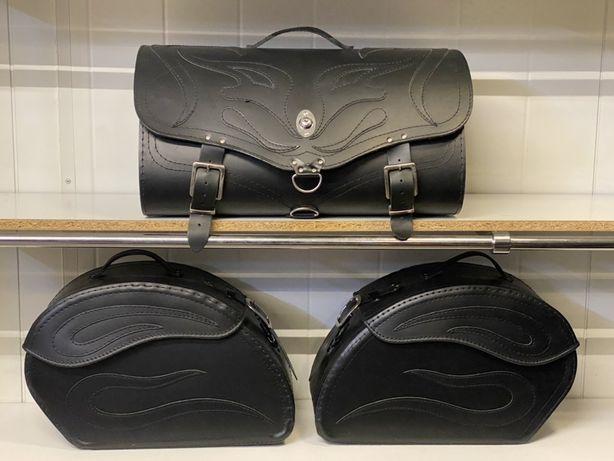 Kufer sakwy skórzane motocyklowe komplet