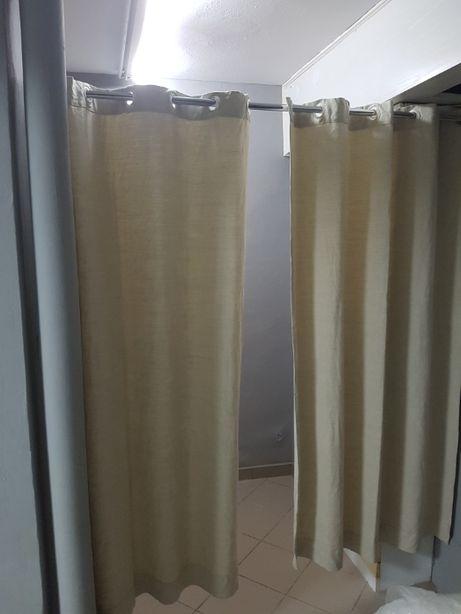 Zasłony/kotary beżowe do przymierzalni, na okno 130X190