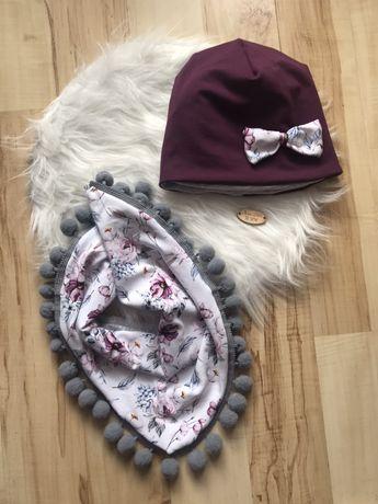 Nowy komplet czapka i chusta 2-4 lata handmade