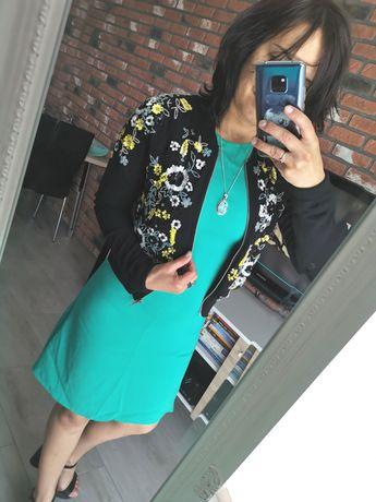 Sukienka Zara turkus midi 34/36 elegancka