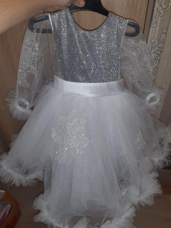 Платье снежинки принцесса на утренник на праздник нарядное 3 4 5