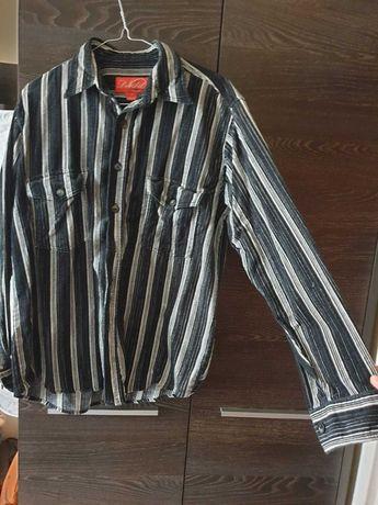 Bawełniana czarna koszula w pionowe pasy długi rękaw