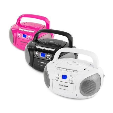 Boombox radioodtwarzacz CD/MP3 odtwarzacz kasetowy różowy