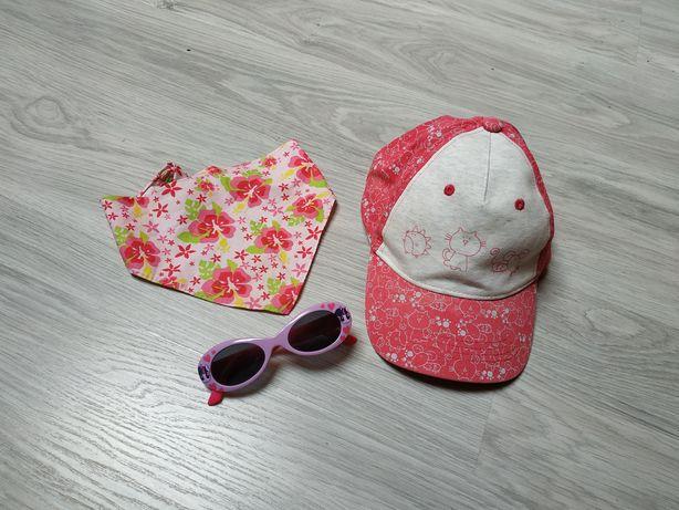 Czapeczka z daszkiem+okulary+chusteczka zestaw lato dziewczęce