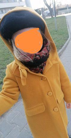Płaszcz musztardowy płaszczyk żółty kurtka z kapturem ciepły 104
