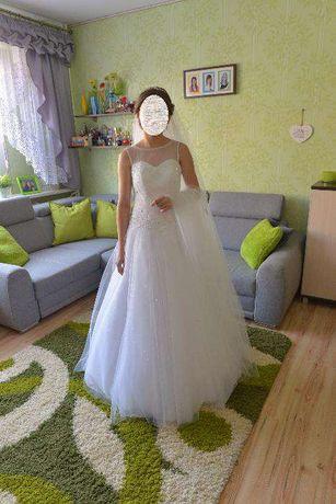 Suknia ślubna rozmiar 34/36 2 welony o wartości 600zł gratis+pokrowiec