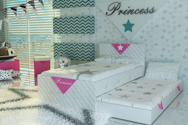Bezpieczne łóżko piętrowe dla dzieci tapicerowane+2 materace gr.10 cm