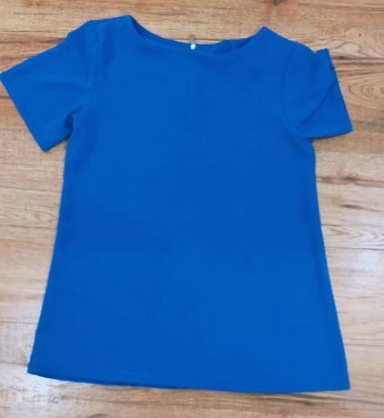 OKAZJA s niebieska bluzka krotki rekaw chabrowa