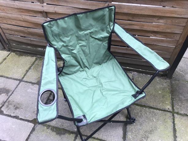 Krzesło wędkarskie krzesełko fotel zielony z pokrowcem