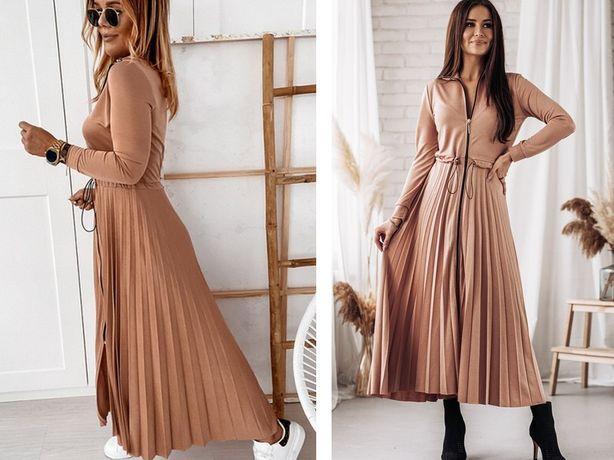 Cocomore nowa brzoskwiniowa sukienka maxi , plisowana ZIP M-L