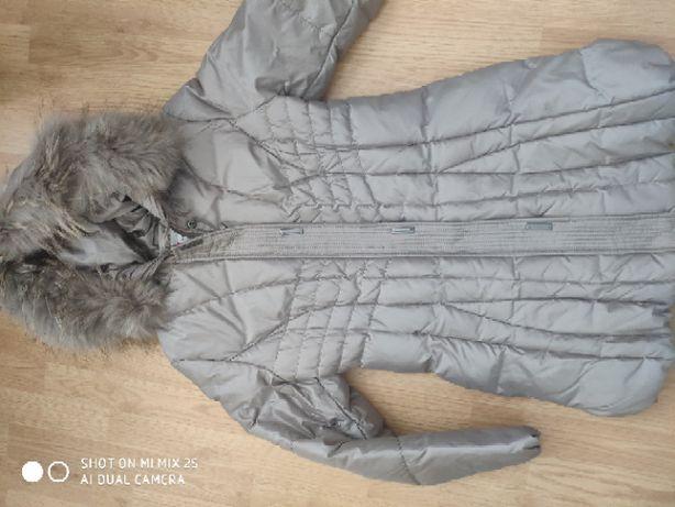 Kurtka zimowa Dankoff naturalne futro szara