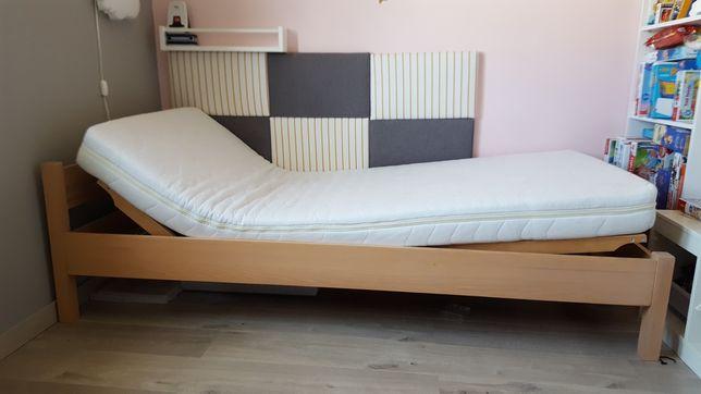Łóżko drewniane 90x200 materac KOŁO lateks aloe vera stelaż ruchomy