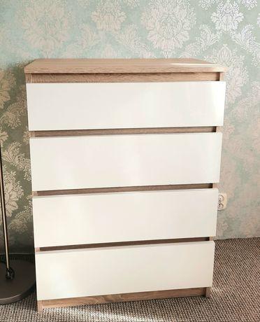 Komoda biała dąb sonoma /4 szuflady/ 95,6x70x40