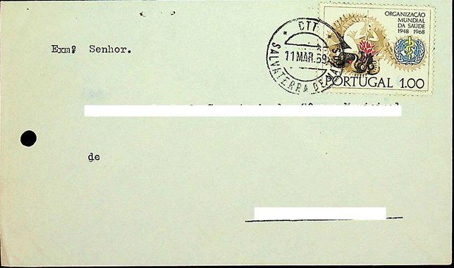 Envelope com selo da Organização Mundial de Saúde
